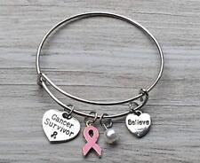 Breast Cancer Bracelet, Pink Ribbon Bangle Bracelet, Cancer Awareness, Cancer
