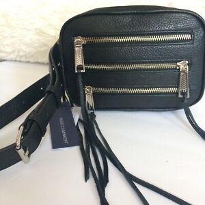 Rebecca Minkoff three 3 Zip Belt Bag Bum Bag Fanny Pack Black NWT $195