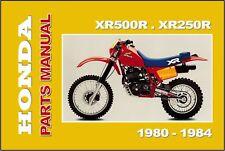 HONDA Parts Manual XR500R & XR250R 1980 1981 1982 1983 1984 Spares Catalog List