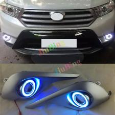 For Toyota Highlander 2012-2014 COB Angel Eye Lens Matte Fog Light Cover Trim