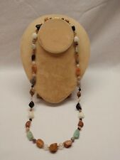 "Hippie Boho Necklace Chunky Stone Agate Jade Carnelian Brass Spacers Retro 27"""