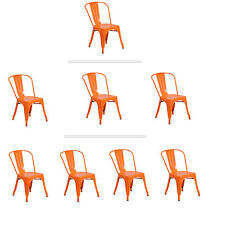 Tolix Orange Metal Stacking Dining Chair Commercial Quality 1-4 Unit Discounts!