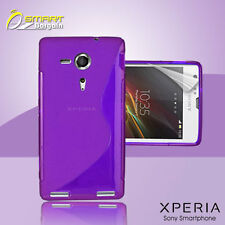 Purple S Curve Gel Case+ Free SP for Sony XPERIA SP M35h Jelly Tpu soft cover