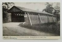 Postcard Old Halls Covered Bridge Margaretville New York