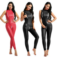 Adult Women PVC Leather Zipper Open Crotch Leotard Bodysuit Jumpsuit Catsuit