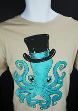 Mens XL Trixie & Milo Gentleman Octopus Top Hat Tan T Shirt