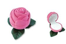 """1 Rose Flocked Jewelry Ring Boxe, Tuck-in Packer, Pink Velvet 2 1/4""""x2 1/4"""","""