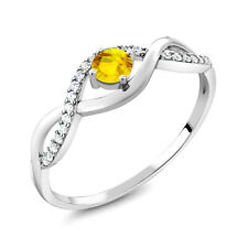 0.67 Ct Round Yellow Sapphire 925 Sterling Silver Ring