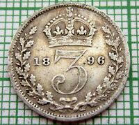 GREAT BRITAIN QUEEN VICTORIA 1896 3 PENCE THREEPENCE, SILVER