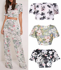 Women Floral Print Crop Bardot Top Loose Palazzo Trousers Co-Ord 4-14 UK