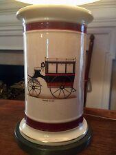 French Porcelain Lamp Antique Car Omnibus Brass Base