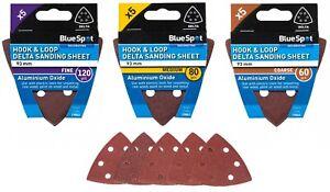 BlueSpot 93mm 5 Pack Delta Sanding Sheets - 60, 80 & 120 Grit