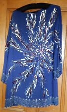 Fabulous 1920's Style Zara Woman Blue Beaded and Sequinned Dress Size M but big