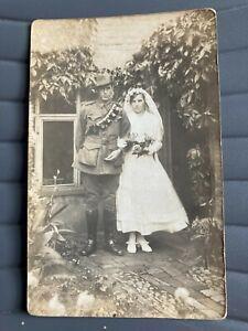 WW1 Post card - Soldier in uniform with bride - Australian Light Horse (?)