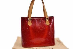 Authentic Louis Vuitton Vernis Houston Shoulder Bag Red LV 90547