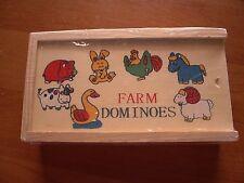 BRAND NEW WOODEN FARM ANIMALS DOMINOES