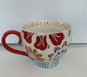 Dutch Wax by Coastline Imports Anthropologie Handpainted Red Ceramic  Mug