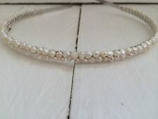 Ivory Freshwater Pearl Headband Hairband Alice Band Double Row Bridal Wedding