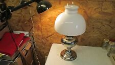 Antique Plume & Atwood Nickel Plated Oil Lamp & Shade