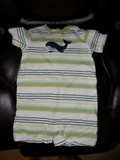 Janie and Jack Embroiderer Whale Striped Romper Size 12/18 Months Boy's EUC