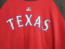 Majestic Mlb Texas Rangers Red & Gray T-Shirt Distressed Logo Size Xl Baseball