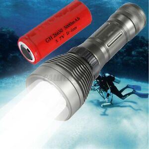 10000LM T6 LED Scuba Diving Flashlight Torch Light 80M Underwater +26650  ^