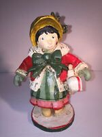 Vintage Handcrafted Winter Christmas Holiday Girl Holding Doll Wooden Sculpture
