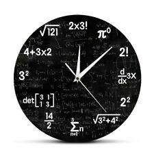 Math Equations Notations Wall Clock Mathematics Chalkboard Classroom Decor Watch