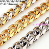 "Fashion Men's Silver/Gold Stainless Steel Curb Cuban Link Chain Bracelet 7""-11"""