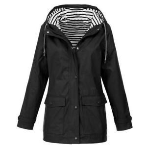 Plus Size Women's Long Sleeve Hooded Waterproof Wind Jacket Outdoor Rain Coat US