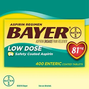 400 Enteric Tablets Low Dose Bayer Aspirin Regimen Pain Reliever 81 mg NSAID
