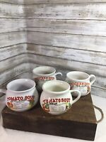 Vintage Country Style Soup Recipe Ceramic Mug Bowls With Handle Set Of 4