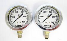 "Set of 2 Class1 Class 1 0 to 7500 PSI Liquid Filled 1.5"" Gauge"