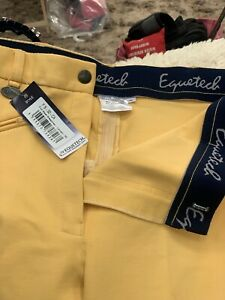 Canary Yellow Showing Full Seat Breeches. Equitech Size 32