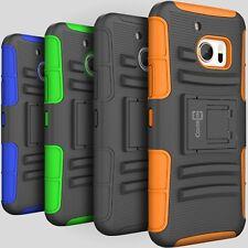 Hybrid Heavy Duty Kickstand Hard Case & Holster For HTC 10 Belt Clip Cover