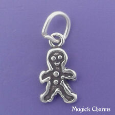 925 Sterling Silver GINGERBREAD MAN Christmas Cookie Charm Miniature - elp2574