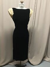 Vintage 50's Parklane Debs Pinup Dress Black Velvet Hour Glass Lace Shoulders