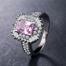 Women 925 Silver Princess Cut Pink Sapphire Elegant Wedding Ring Size 8