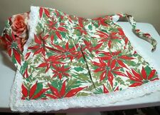 1960's Xmas print linen apron.Red Poinsettia,green leaves.Lace trim