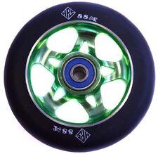 2X PRO STUNT SCOOTER GREEN NINJA 5 METAL CORE WHEELS 100mm 88A ABEC 9 BEARING 11