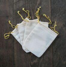 100 (2.75x4) Bag Natural Muslin Yellow Drawstring