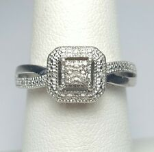 diamond halo promise ring size 6.5 sterling silver 925