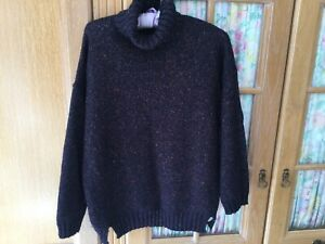 M&S Ladies Jumper Size 14 In Wool Blend Navy With Sparkle Polo Neck VG Condition
