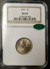 1901 LIBERTY NICKEL - NGC - MS 64 - CAC STICKER - #008