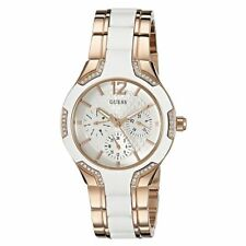 GUESS Women's U0556L3 Sporty Rose Gold-Tone Watch with White Dial , Crystal-Acce