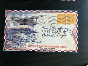 1940 Trans-Pacific Clipper-USS California PEARL HARBOR SHIP Hawaii AirMail Cover