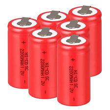 6 pièces BATTERIE RECHARGEABLE Sub C SC 1.2V 2200mAh Ni-Cd piles &tap 42.5 22mm