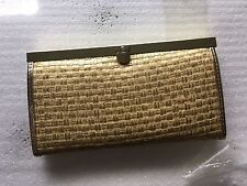 BEBE Golden Basketweave Faux Leather Wallet