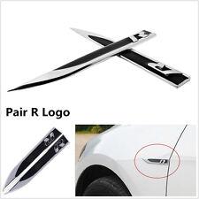 2x Black Metal R Logo Car Side Wing Fender Emblem Badge Stickers for VW Golf SUV