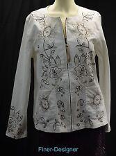 Susan Graver Jean Jacket Embroidered Floral bead Button Light Coat WHITE Denim M
